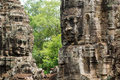 Stone Face on Bayon Temple at Angkor Thom, Cambodi Royalty Free Stock Image