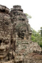 Stone Face on Bayon Temple at Angkor Thom, Cambodi Royalty Free Stock Photos