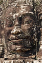 Stone face prasat bayon cambodia a temple at angkor complex Stock Photos