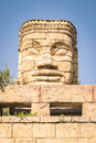 Stone face of a temple. Royalty Free Stock Photo