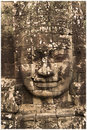 Stone face of vishnu hindu temple complex in cambodia dedicated to the god Stock Images