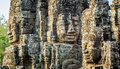 Stone faces at the bayon temple in siem reap,cambodia 2 Royalty Free Stock Photo