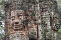 Stone faces at the bayon temple in siem reap,cambodia Royalty Free Stock Photo