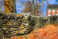 Stone fence traditional in shaker village of pleasant hill kentucky Royalty Free Stock Photo
