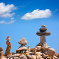 Stone figures on beach shore of illetes beach in formentera mediterranean balearic islands Royalty Free Stock Photography