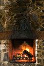 Stone Fireplace Stock Photos
