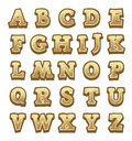 Stone game alphabet for user interfaces yellow Stock Photo