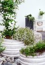 Stone garden arrangement at house entrance with green and white Royalty Free Stock Photo