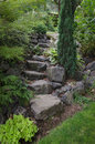 Stone garden stairs a narrow staircase in a backyard Royalty Free Stock Image