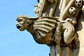 Stone gargoyle on church spire with blue sky Stock Photos