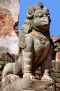 Stone griffin at bhaktapur durbar square which is a unesco world heritage sites in the kathmandu valley in nepal Royalty Free Stock Image