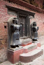 Stone Guardians, Royal Palace of Bhaktapur, Nepal Royalty Free Stock Photography