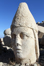 Stone head of greek goddess on the mount nemrud in turkey Stock Images