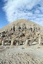 Stone heads on the top of mount nemrud in turkey Royalty Free Stock Photography