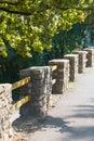 A stone hedge along the cliff. Bergamo Italy. Royalty Free Stock Photo