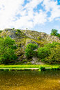 Stone Hills near River Dove in Peak District National Park Royalty Free Stock Photo