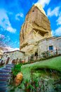 Stone House With Stairs Landscape In Goreme Valley, Cappadocia, Turkey