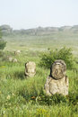 Stone idol in the steppe Royalty Free Stock Photo