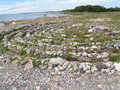 Stone labyrinth on the Big Solovki island, Russia Royalty Free Stock Photo