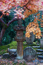 Stone lantern and fall foliage Royalty Free Stock Photos