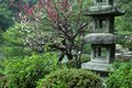A stone lantern at a Japanese Garden in Kyoto, Japan Stock Photo