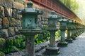 Stone lanterns on the side of toshogu shrine in nikko japan that lead to futarasan tochigi Stock Images