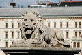 Stone lion from the chain bridge over danube river budapest hungary Royalty Free Stock Image
