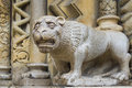 Stone lion a decorative element of the building Royalty Free Stock Photo