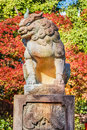 Stone lion sculpture at yasaka jinja in kyoto japanese Royalty Free Stock Image