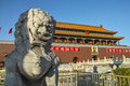 The stone lion statue in front of tiananmen tower Stock Photo
