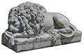Stone lion statue isolated with path Royalty Free Stock Photo
