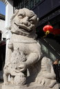 Stone lion in west pool china Stock Photo