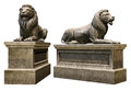 Stone lions d render of lion statues Stock Photos
