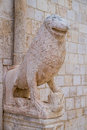 Stone lions on the portal of the mother church in conversano italy Stock Image