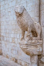 Stone lions on the portal of the mother church in conversano italy Royalty Free Stock Photo