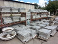 Stone manufacture yard cast production in open space Stock Photos