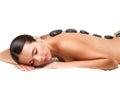 Stone Massage. Beautiful Woman...