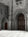 Stone Medieval Castle Courtyard Illustration Royalty Free Stock Photo