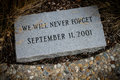 Stone memorial to September 11, 2001. Royalty Free Stock Photo