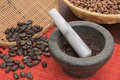 Stone mortar and pestle with cacao Royalty Free Stock Photo