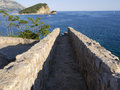 Stone path ancient pathway on fort wall in budva montenegro Royalty Free Stock Photo