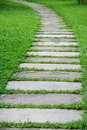 Stone path with green grass Royalty Free Stock Photo