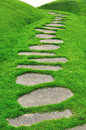 Stone path on green grass Royalty Free Stock Photo