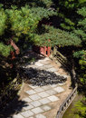Stone path in a Japanese garden Royalty Free Stock Photo