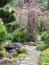 Stone path through park in spring Royalty Free Stock Photo