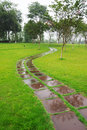Stone path in the rain Royalty Free Stock Photo