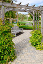 Stone Path Under Wooden Arbor Royalty Free Stock Photo