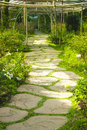 A stone pathway in flower garden Royalty Free Stock Photo