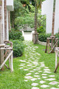 Stone pathway in the garden decorated Stock Photo