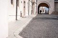 Stone paved street old in bucharest romania Royalty Free Stock Photo